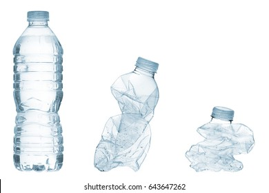 Empty bottles recycle concept; isolated on white background