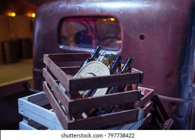 empty bottles of wine in a bootleggers truck