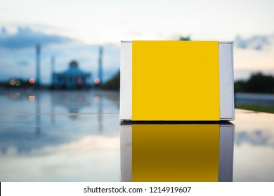 a empty box on mosque background