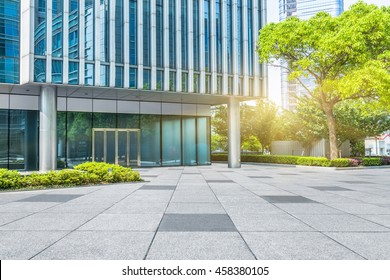 Empty brick floor with modern building in Shanghai