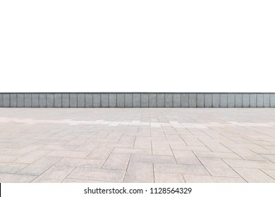 empty brick floor and wall isolated on white with clipping path, as foreground material