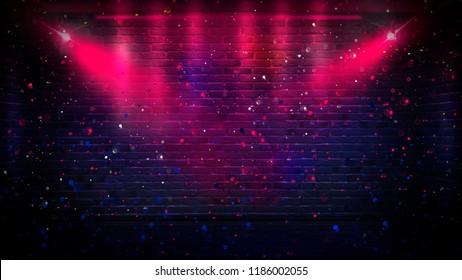 Empty brick wall background, night view, neon light, rays. Celebratory background.