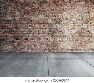 Empty Brick Wall with Concrete Floor Concept