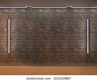 Empty brick wall with a lamp. 3D rendering.