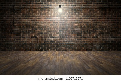 Empty brick wall room with wooden planks floor and lightbulb. 3d rendering