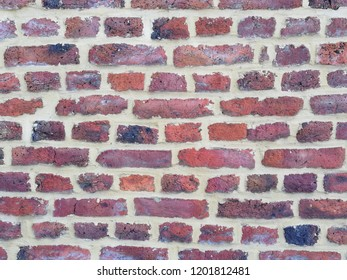 Empty Brick Wall Texture. Painted Distressed Wall Surface. Grungy Wide Brickwall. Grunge Red Stonewall Background. Brick wall background.