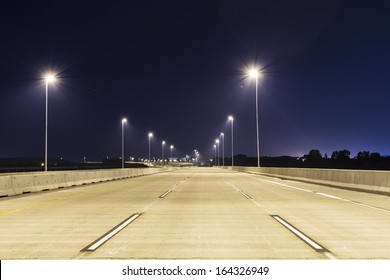 An empty bridge with no traffic at night