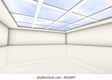 empty bright lit room with a glass ceiling. lots of space for your own content.