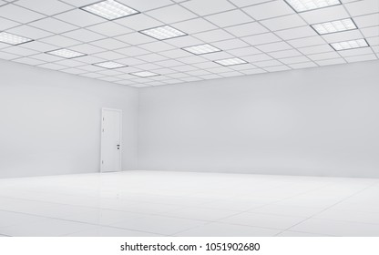 Empty bright office room with square lights. 3d rendering