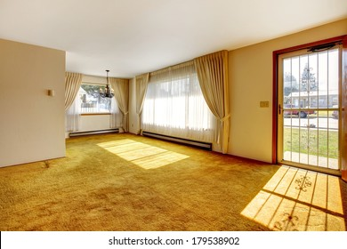 Empty bright room with one window, beige carpet floor.