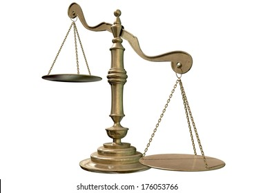 An empty bronze justice scale with one side outweighing the the other on an isolated background