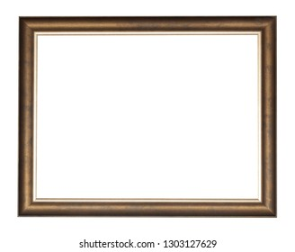 empty bronze wooden picture frame with cut out canvas isolated on white background