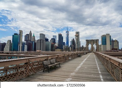 Empty Brooklyn Bridge during the coronavirus (COVID-19) pandemic lockdown in New York City