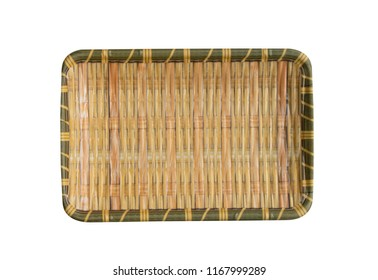 Empty brown bamboo dish,food ware,kitchen ware,ceramic plate,blanket plate,isolated on white background with clipping path