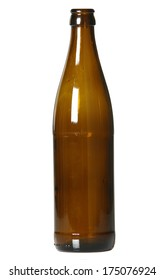 Empty brown beer bottle, isolated