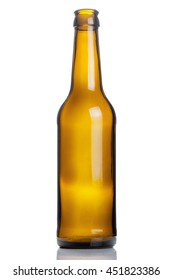 empty brown beer bottle isolated on white background