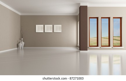 Empty brown and beige  modern interior - rendering - the image on background is a my photo