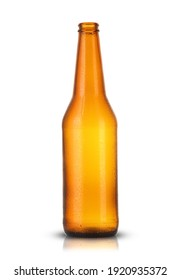 empty brown bottle with drops from beer on white background