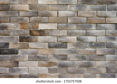empty brown brick wall or stone floor and table loft by retro mosaic style on top view for old texture background and dark vintage wallpaper or modern interior brickwork to exterior warm construction