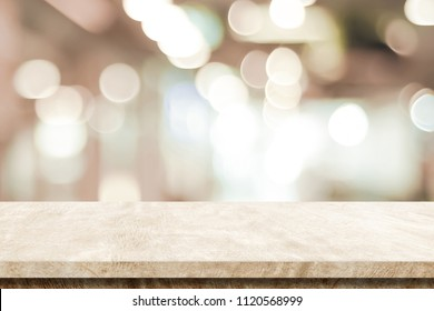 Empty brown cement table over blur store background, product display montage