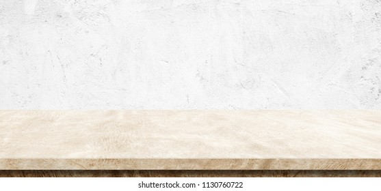Empty brown cement table over white wall background, banner, table top, shelf, counter design for product display montage