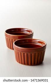 Empty Brown Ceramic Dip Bowl