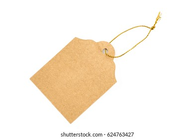 Empty brown gift card on white background.