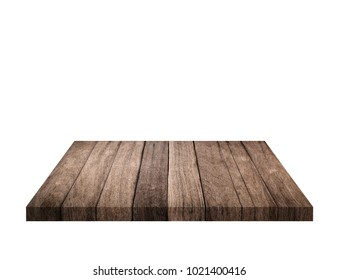 Empty brown old wooden shelf isolated on white background. for montage of your product