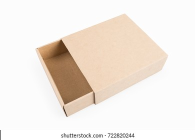 empty brown paper box isolated on white with clipping path
