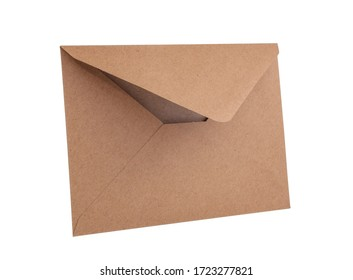 Empty brown vintage paper envelope isolated on the white