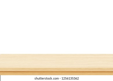 Empty brown wood table top isolated on white background. Template mock up for display of product