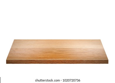 Empty brown wooden shelf isolated on white background. for montage of your product