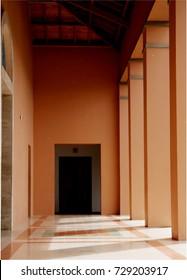 Empty building to pray. Benedictin monastery in Colombia.