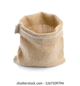 Empty burlap sack bag on white background - Image