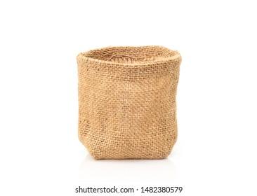 Empty burlap sack bag on white background