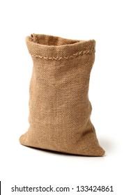 Empty burlap sack isolated on white background