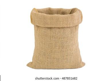 Empty burlap sack isolated on white background