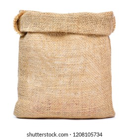 Empty burlap sack or sackcloth bag, isolated on white background. Front view, design element.