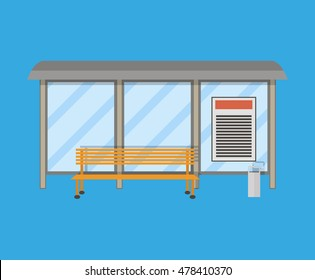 Empty Bus Stop with bench and trash receptacle. illustration in flat style on blue background