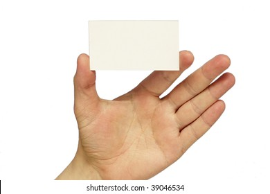 Empty business card in the hand isolated over white background