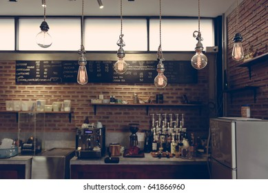 Empty cafe or bar interior