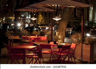 Empty cafe by night in Rome in Italy