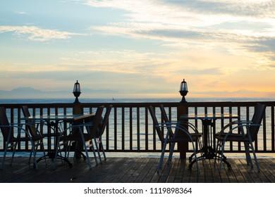 Empty cafe at sunrise on the beach in Turkey, Antalya