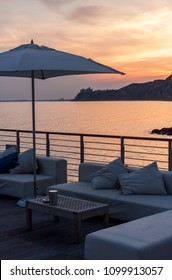 empty cafe terrace sea side beach club