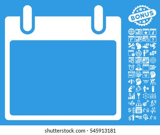 Empty Calendar Leaf icon with bonus calendar and time management pictograms. Glyph illustration style is flat iconic symbols, white, blue background.