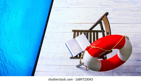 empty calm pool lifeguard post with comfortable armchair, lifebuoy and open book