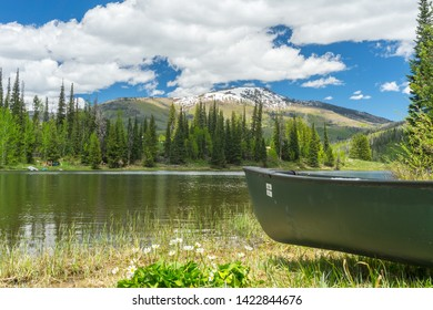 An empty canoe on the shoe of Pearl Lake, Colorado.