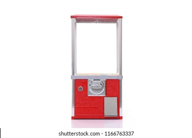 empty capsule toy vending machine against white background