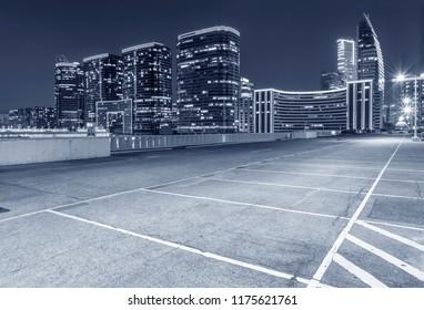 Empty car park in midtown of Hong Kong city at night