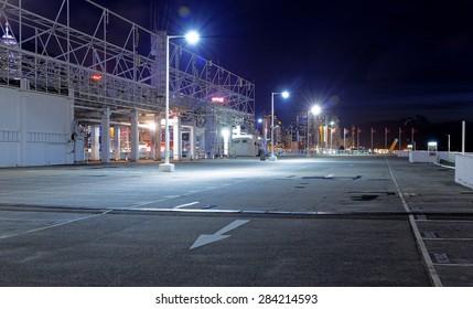 Empty car park at night